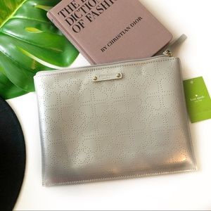 Kate Spade | Silver Metro Spade Large Clutch Pouch
